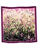 Image of Dahlia Women's 100% Square Silk Scarf - Laurent Monteil Irises Painting - Purple