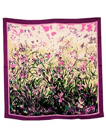 Dahlia Women's 100% Square Silk Scarf - Laurent Monteil Irises Painting - Purple