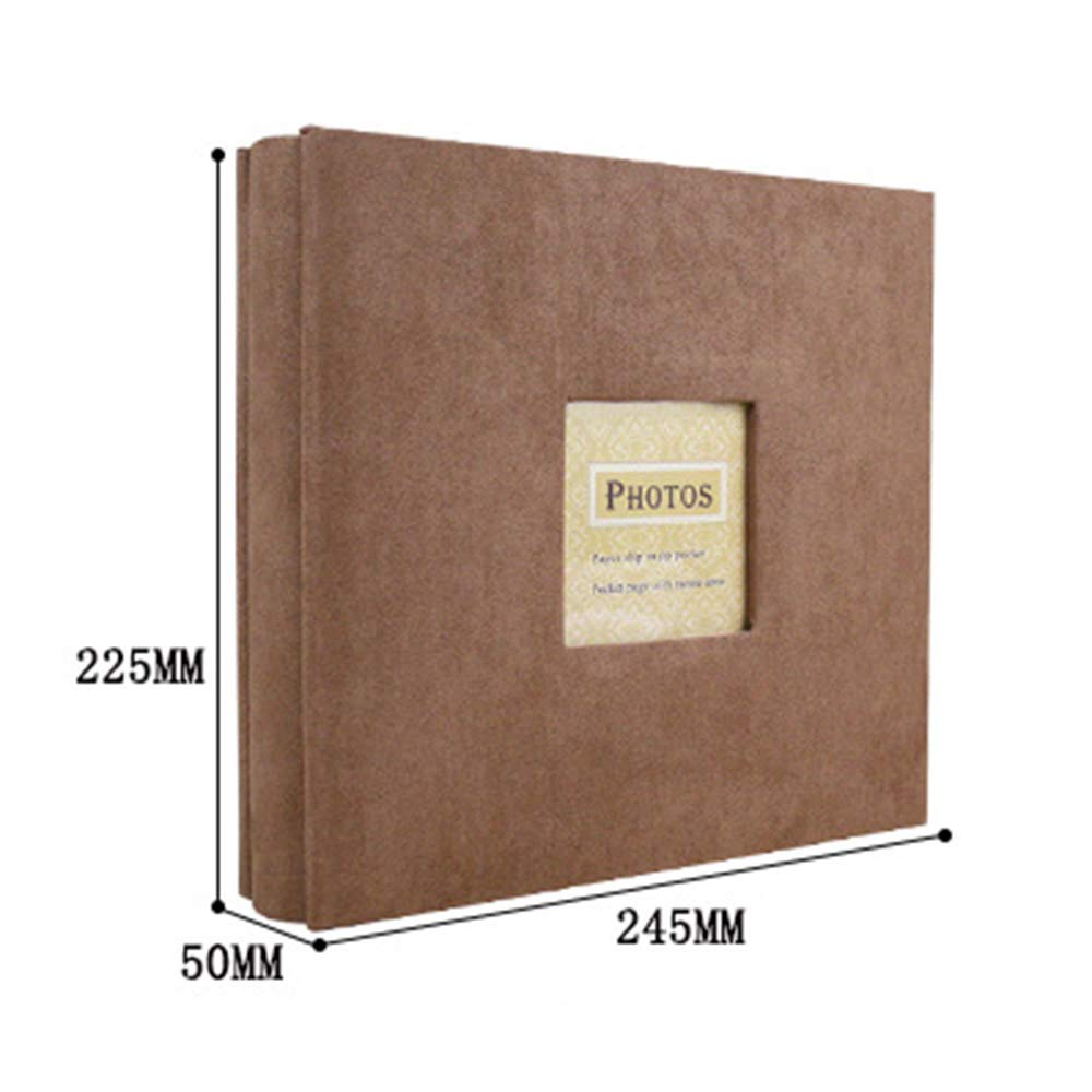 Camilla Baby Photo Albums Pictures Album Personalized Book 200 Pocket Sewn Leatherette Cover Archival Page Albums Plastic Protected 4x6 Selfie Photo Collection-Coffee