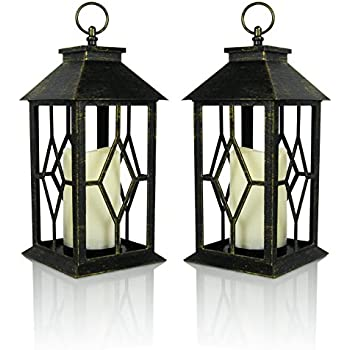 Banberry Designs Decorative Lanterns   Set Of 2 Antique Bronze Decorative  Lantern With A Flameless LED Pillar Candle And 5 Hour Timer   Outdoor  Lighting ... Design Inspirations
