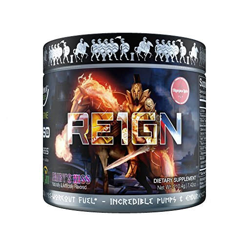 RE1GN All-in-One Pre Workout by Olympus Labs | Pre Workout Bodybuilding Supplement for Incredible Pump & Endurance, Intense Energy & Focus | Delicious Fast-Acting Formula | 20 Servings (Fairy's Kiss)