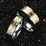 Bishilin Stainless Steel Silve And Gold Tone Couple Rings With Love And Forever 2Pcs Set