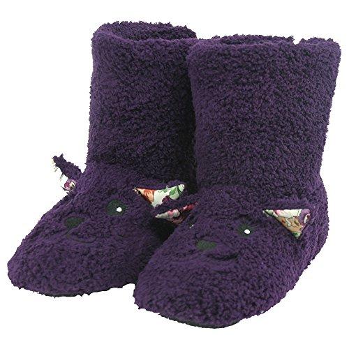 Forfoot Womens Zachte Fleece Winter Warm Indoor Huis Mode Laarzen Slippers Puple Lam