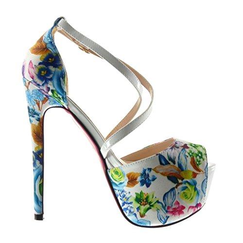 fiori CM Angkorly tanga Bianco decollete alto scarpe donna Moda Scarpe Stiletto Tacco stiletto 15 sandali zeppe sexy zzxwBRpUq