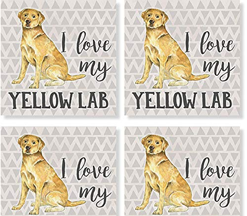 Carson Yellow Lab Square House Coaster Set of 4
