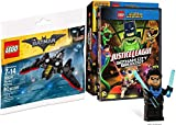 Lego Justice League Nightwing Figure & Batman Plane Toy Builder & JL Gotham City Breakout DVD Movie Combo Animated Official Hero Adventure