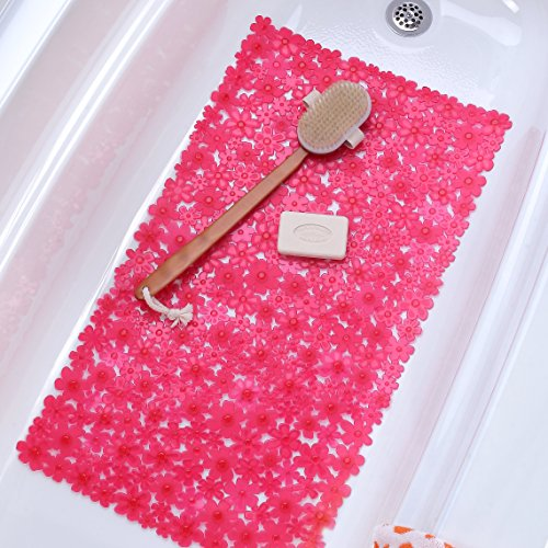 Field of Flowers Bath Mat - Pink