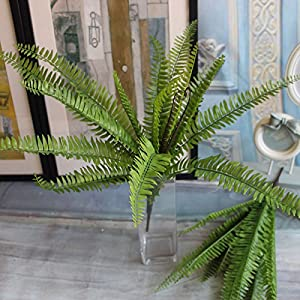 Artificial Boston fern with 15 fronds, artificial green plant / Silk plant 2