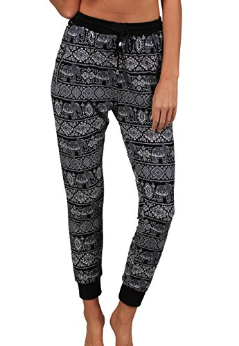 Elephant Junior - INGEAR Women Super Soft Joggers Casual Sports Harem Running Tie Waist Yoga Pilates Pants Summer and Winter (Black/White Elephant, Small/Medium)
