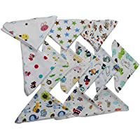 BornBaby Printed Cotton Nursery Handkerchief Soft face Towel wash Clothes Napkins for boy & Girl Available in Different Combo Pack of 5/Pack of 10