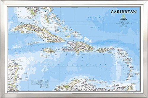 FRAMED National Geographic Political Caribbean Map 24x36 in Real Wood Brushed Nickel Finish Crafted in USA