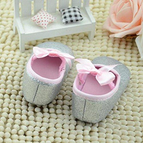 Koly Zapatos primeros pasos para bebé-niñas, pasos niñas, Anti-slip zapatos de bebé de brillo (L, Oro) plateado
