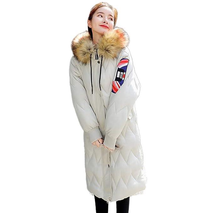 VJGOAL Moda Casual de Invierno para Mujer Abrigo cálido Piel sintética Cuello de Piel Grande con