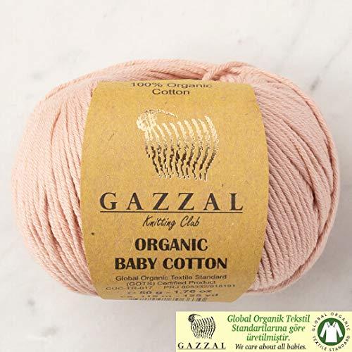 5 Ball (Pack) Gazzal Organic Baby Cotton Yarn, Total 8.8 Oz. 100% Organic Cotton, Each 1.76 Oz (50g) / 125 Yrds (115 m), 3 Light DK, Beige - 416 ()