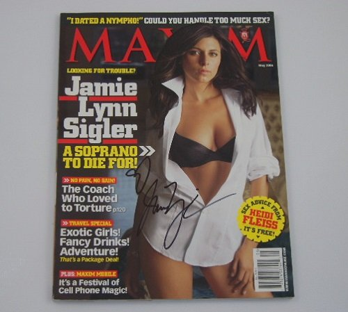 The Sopranos Jamie Lynn Sigler Sexy Signed Autographed Maxim Magazine Loa