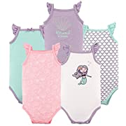 Hudson Baby Baby Sleeveless Bodysuits, 5 Pack, Mermaid, 9-12 Months