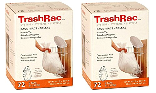 Sunbeam Trashrac Trash Bags 5 Gal. 0.7 Mil 72 Bags - Psack of 2 (Total 144 Bags) (5 Trash Gallon Bags With Handles)