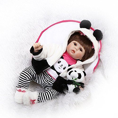 面白い家22インチ55 cm LifelikeソフトSiliconeビニールRebornリアルタッチ人形Reborn Dollsハンドメイド新生児ベビーAliveパンダドレス特別なクリスマスギフト誕生日プレゼントun-washable   B07BF4M4KT