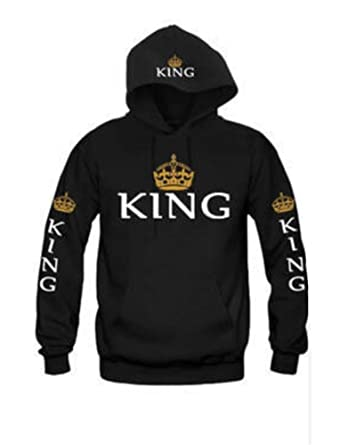 85e9facde4 JIANLANPTT Men Women Fashion King Queen Hoodies Sweatshirt Love Couple  Black S(US0-2
