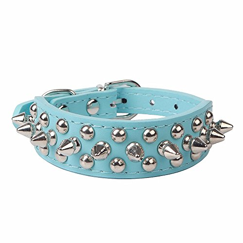 (Pet Dogs Collar,Studded Spiked Rivet Adjustable Length Buckle Fashion Neck Strap (XS,)