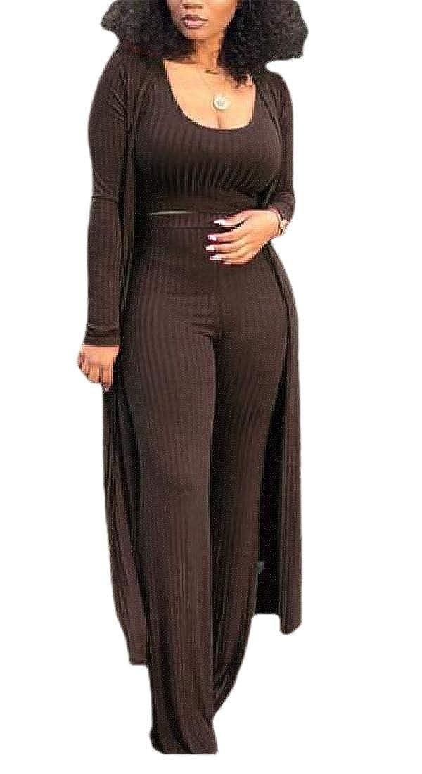 CBTLVSN Women Crop Top Long Kimono Cardigan and Bodycon Pants Set 3 Piece Outfits
