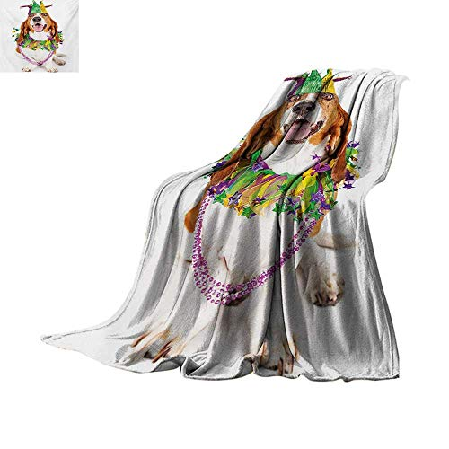 Mardi Gras Weave Pattern Blanket Happy Smiling Basset Hound Dog Wearing a Jester Hat Neck Garland Bead Necklace Summer Quilt Comforter 62