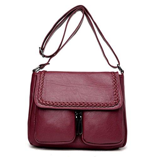 LAIDAYE Frau Tasche Freizeittasche Kuriertasche Mit Großer Kapazität Tasche Umhängetasche Red