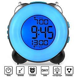 Banne Loud Alarm Clock Optional Alarm Dual Alarm Setting Snooze Function Night Light Bedside Battery Powered Clock (Black)