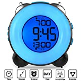 Banne Loud Alarm Clock Optional Alarm Dual Alarm Setting Snooze Function Night Light Bedside Battery Powered Clock (Black)