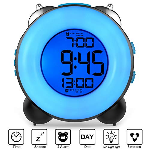 Banne Loud Alarm Clock Optional Alarm Dual Alarm Setting Snooze Function Night Light Bedside Battery Powered Clock (Black) (Sonic Boom Alarm Clock)