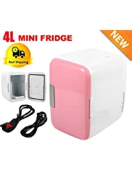 New 12V Pink Car Home Travel Small Refrigerator Mini Fridge Cooler/Warmer- 4L
