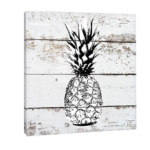Picture Vintage Framed (K-Road Pineapple Canvas Prints Framed Wall Art Vintage Picture Painting Room Decor 12 x 12in (Black and White))