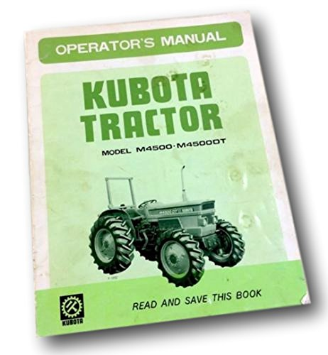 Kubota M4500 M4500Dt Tractor Operators Owners Manual Diesel 4Wd Maintenance Fuel 4wd Manual