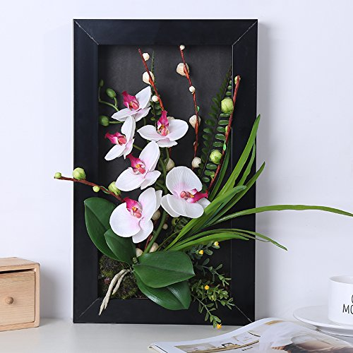 3D Frames Artificial Flowers Orchid Arrangement Table Top Decoration or Wall Mounted Sculptures (Rose)