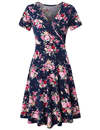 KASCLINO Hawaii Dresses Modest Dresses for Women with Pockets with Pockets,Navy Peony XXL (Hawaii Peonies)