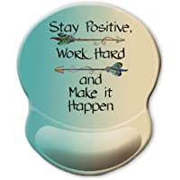 ITNRSIIET Ergonomic Mouse Pad with Gel Wrist Rest Support, Stay Positive Work Hard and Make It Happen Arrow Print Inspirational Quote Mouse Pad, Pain Relief Wrist Rest Pad with Non-Slip PU Base