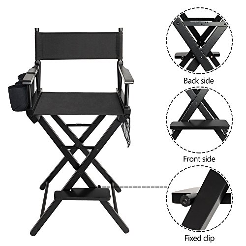 Director's Chair Folding Aluminum Camping Portable Lightweight Chair Supports 300lbs Outdoor Solid Hardwood & Polyester Folding Makeup Chair Folding Portable Footrest Side Storage Bag