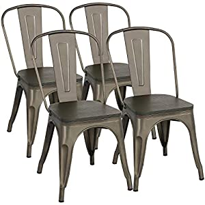 Yaheetech Metal Dining Chairs with Wood Seat/Top Stackable Side Chairs Kitchen Chairs with Back Indoor-Outdoor Classic…