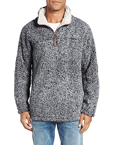 Amapot Apparel Mens 1/4 Zip Fleece Pullover Frosty Pile Tipped Sweater Stadium Fleece Sherpa Pullover Hoodie (Black, Medium) ()