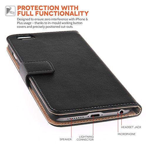 Caseflex Schutzhülle iPhone 6 Plus Schutzhülle aus echtem, schwarz, echt Leder, mit Eingabestift