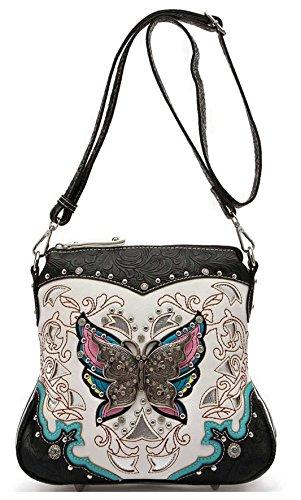 Western Style Leather Shoulder Bag (Western Style Butterfly Tooled Leather Women Purse Cross Body Handbag Concealed Carry Single Shoulder Bag (Black))