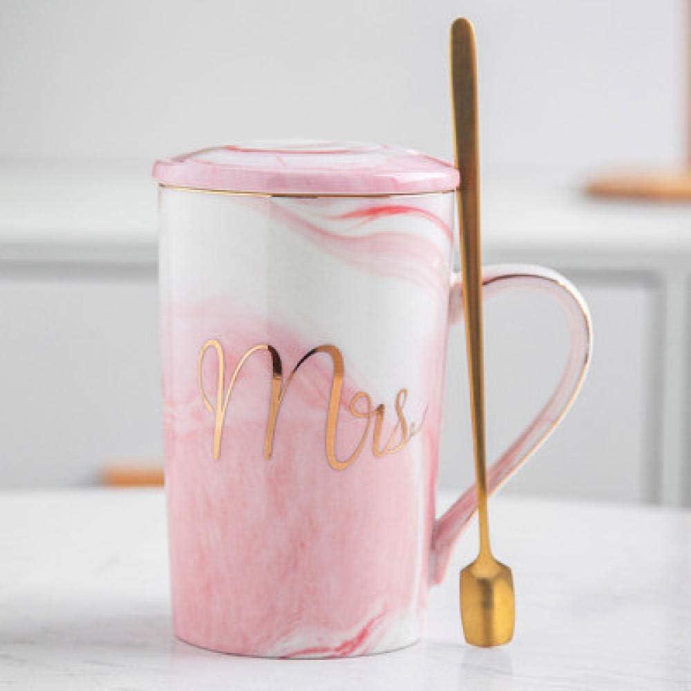 GEZIDA Par De Tazas De Café De Marca para Parejas, Regalo De Boda, Taza De Aniversario, Caja De Regalo De Lujo para La Novia Y El Novio-Pink_Lady_ D