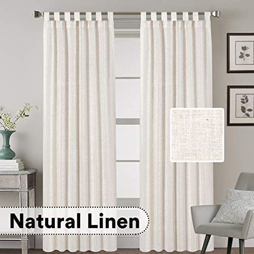 H.VERSAILTEX Tab Top Natural Linen Blended Airy Curtains for Living Room Home Decor Soft Rich Material Light Reducing Bedroom Drape Panels, Set of 2, 52 x 84 -Inch - Natural Pattern (84 Inch Linen Curtains)