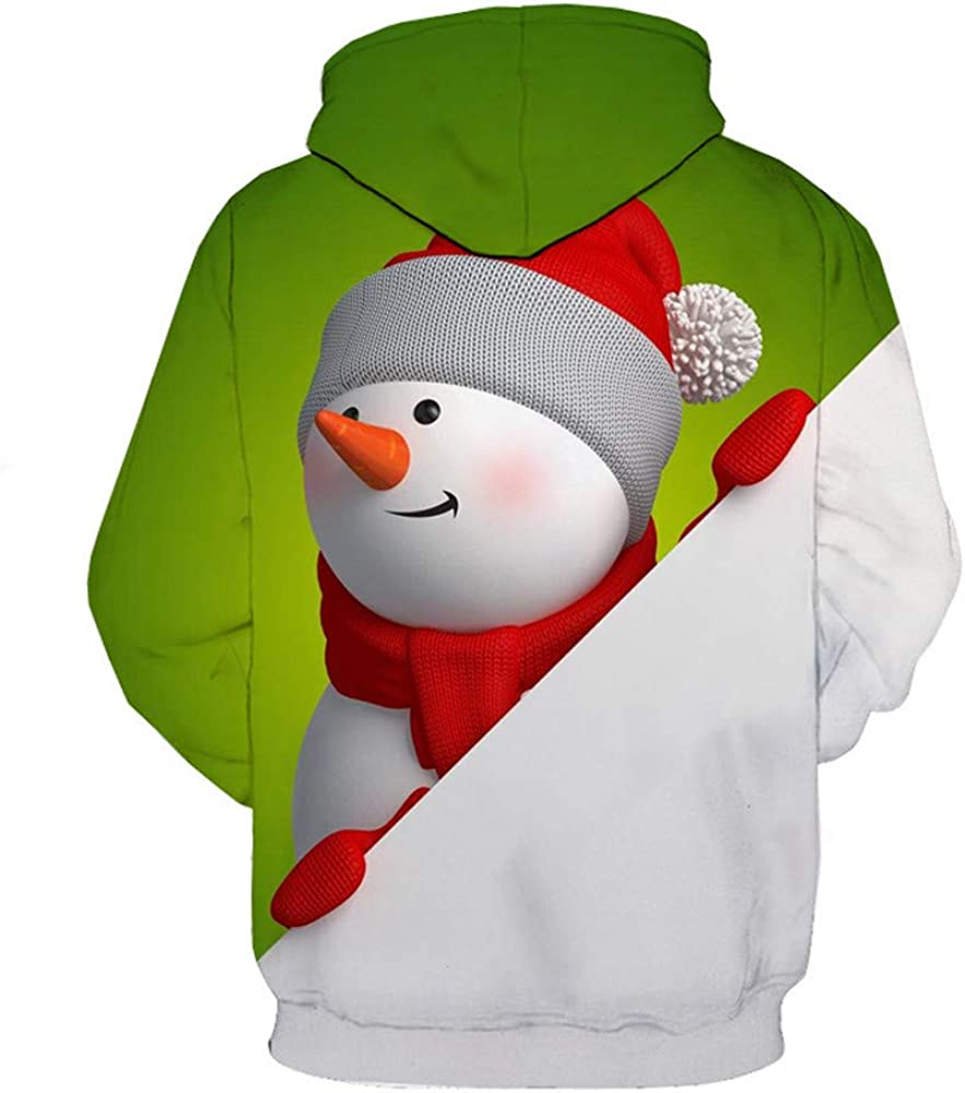 Hunputa Mens Blouse,Mens 3D Printed Christmas Pullover Long Sleeve Hooded Sweatshirt Tops Blouse