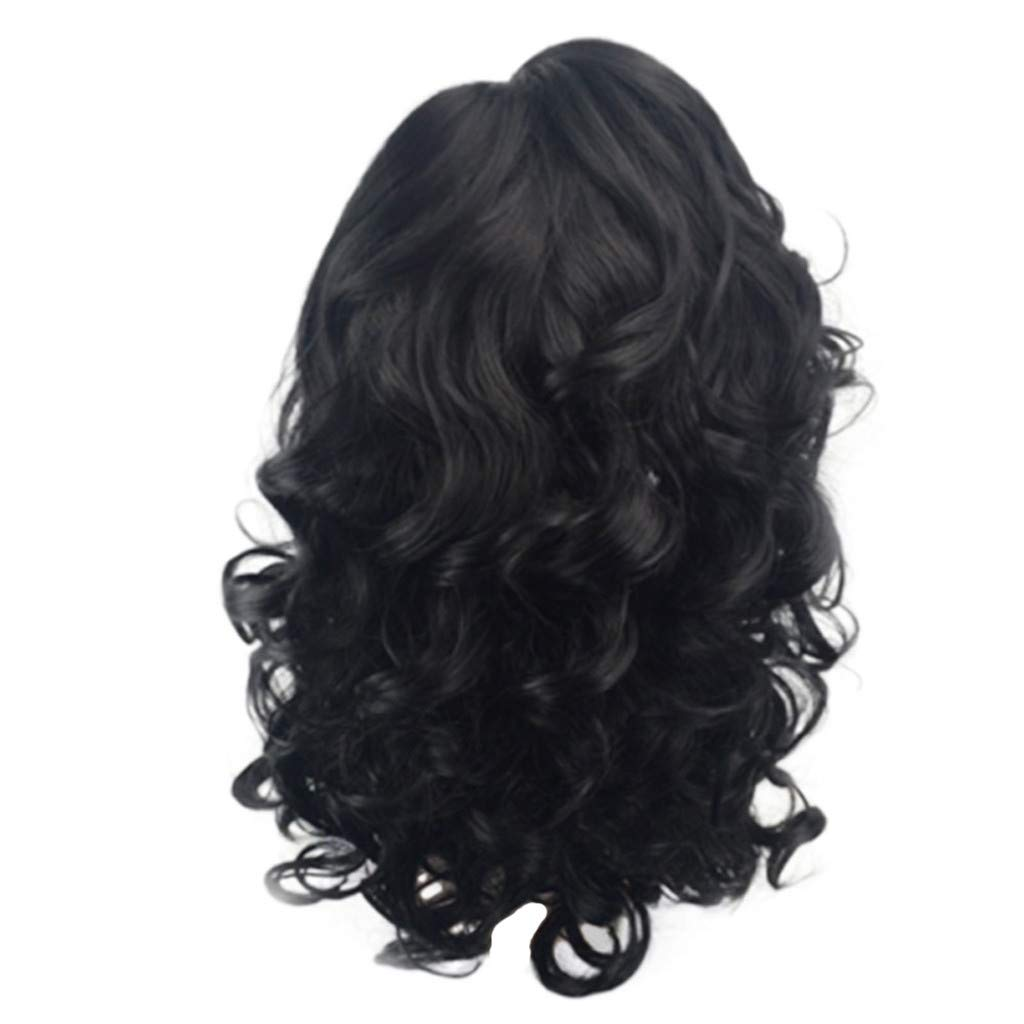 Wig,SUPPION 18inch Front Lace Women Black Short Wavy Curly Parting High Temperature Fiber Wig Hair - Cosplay/Party/Costume/Carnival/Masquerade (A)