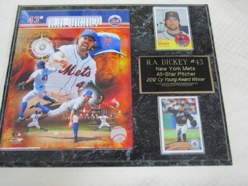 METS R.A. Dickey Cy Young Award 2 Card Collector Plaque w/8x10 Composite - Award Young Cy