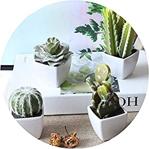 Get-in 1Set Mini Potted Succulents Cactus Bonsai Artificial Flower Artificial Floral for Wedding Home Party Decorative 4 Colours B3105 39