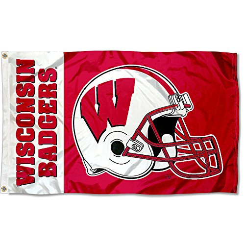 (College Flags and Banners Co. Wisconsin Badgers Football Helmet Flag)