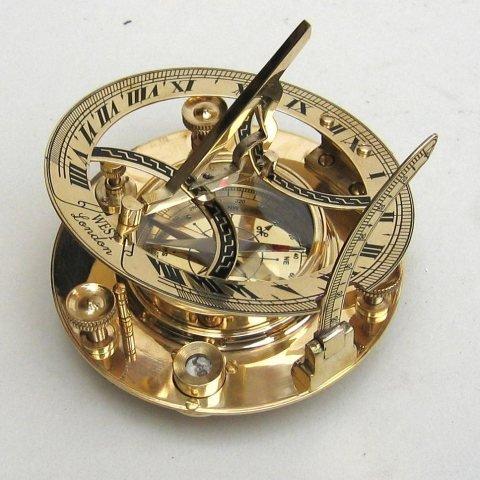 """Ectoria 5"""" Sundial Compass - Solid Brass Sun Dial"""