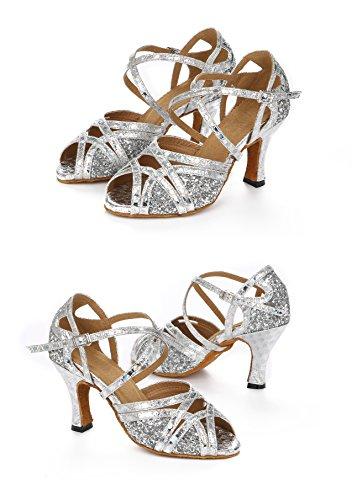 Honeystore Neuheiten Frauens Pailletten Heels Absatzschuhe Moderne Latein-Schuhe mit Knöchelriemen Tanzschuhe LD0123 Silber